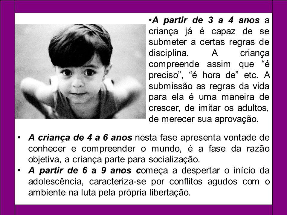 A criança de 4 a 6 anos nesta fase apresenta vontade de conhecer e compreender o mundo, é a fase da razão objetiva, a criança parte para socialização.