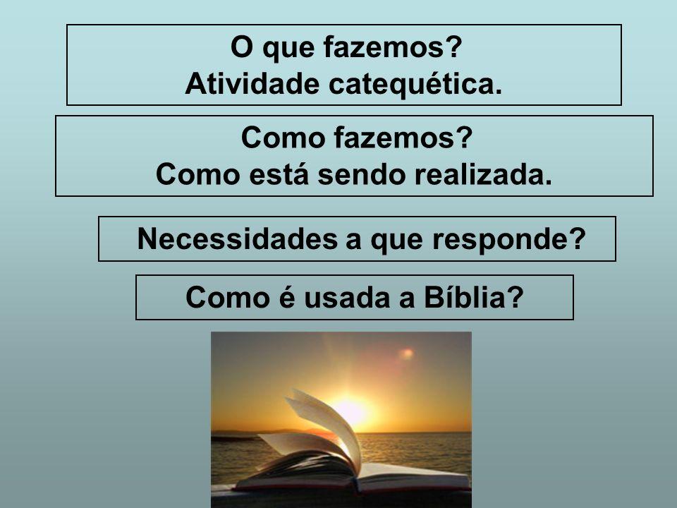 O que fazemos? Atividade catequética. Como fazemos? Como está sendo realizada. Necessidades a que responde? Como é usada a Bíblia?