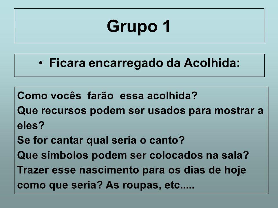 Grupo 1 Ficara encarregado da Acolhida: Como vocês farão essa acolhida? Que recursos podem ser usados para mostrar a eles? Se for cantar qual seria o