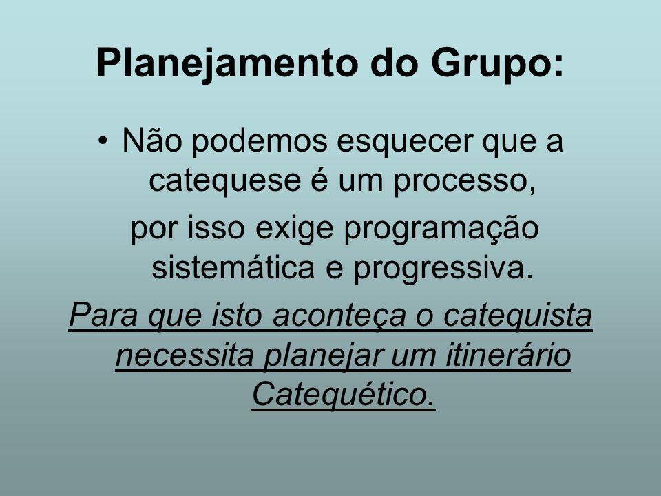 Planejamento do Grupo: Não podemos esquecer que a catequese é um processo, por isso exige programação sistemática e progressiva. Para que isto aconteç