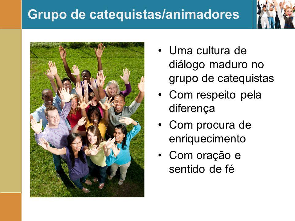 Grupo de catequistas/animadores Uma cultura de diálogo maduro no grupo de catequistas Com respeito pela diferença Com procura de enriquecimento Com or