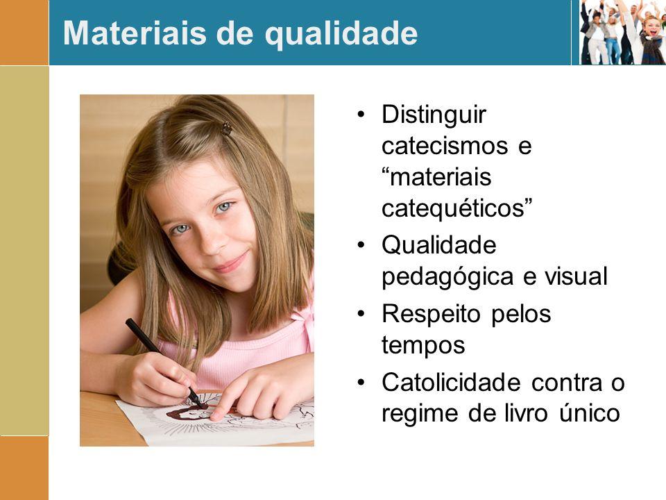 Materiais de qualidade Distinguir catecismos e materiais catequéticos Qualidade pedagógica e visual Respeito pelos tempos Catolicidade contra o regime