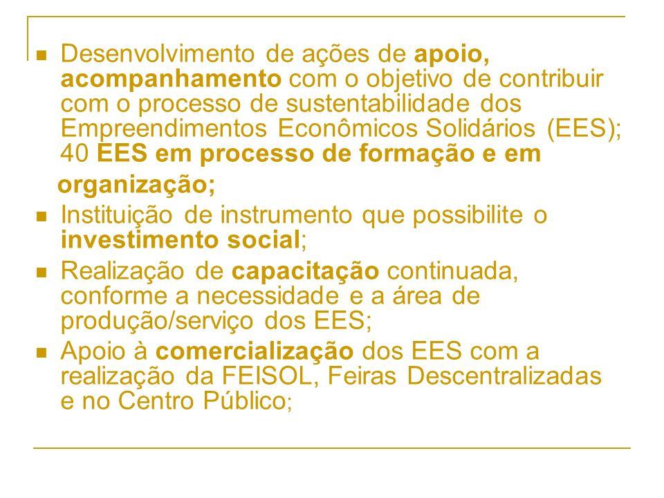 Desenvolvimento de ações de apoio, acompanhamento com o objetivo de contribuir com o processo de sustentabilidade dos Empreendimentos Econômicos Solidários (EES); 40 EES em processo de formação e em organização; Instituição de instrumento que possibilite o investimento social; Realização de capacitação continuada, conforme a necessidade e a área de produção/serviço dos EES; Apoio à comercialização dos EES com a realização da FEISOL, Feiras Descentralizadas e no Centro Público ;