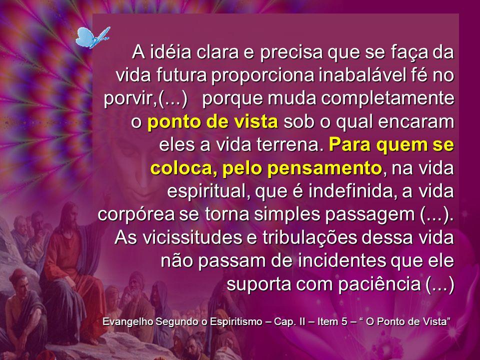 A idéia clara e precisa que se faça da vida futura proporciona inabalável fé no porvir,(...) porque muda completamente o ponto de vista sob o qual enc