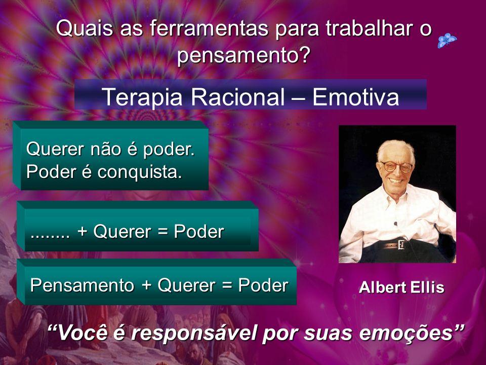 Quais as ferramentas para trabalhar o pensamento? Terapia Racional – Emotiva Querer não é poder. Poder é conquista......... + Querer = Poder Pensament