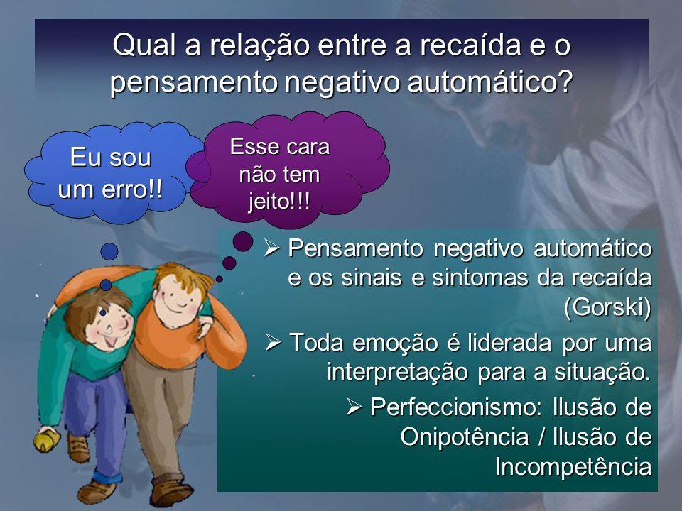 Qual a relação entre a recaída e o pensamento negativo automático? Pensamento negativo automático e os sinais e sintomas da recaída (Gorski) Pensament