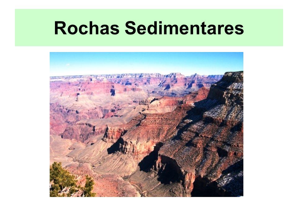 Classificação das Rochas Sedimentares As rochas sedimentares classificam-se em três grupos principais, consoante a origem dos sedimentos que as constituem: –Rochas Detríticas –Rochas Quimiobiogénicas –Rochas Quimiogénicas