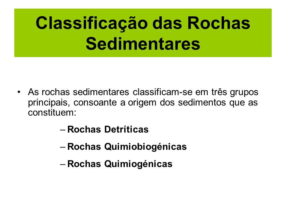 Classificação das Rochas Sedimentares As rochas sedimentares classificam-se em três grupos principais, consoante a origem dos sedimentos que as consti