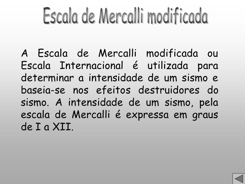 A Escala de Mercalli modificada ou Escala Internacional é utilizada para determinar a intensidade de um sismo e baseia-se nos efeitos destruidores do