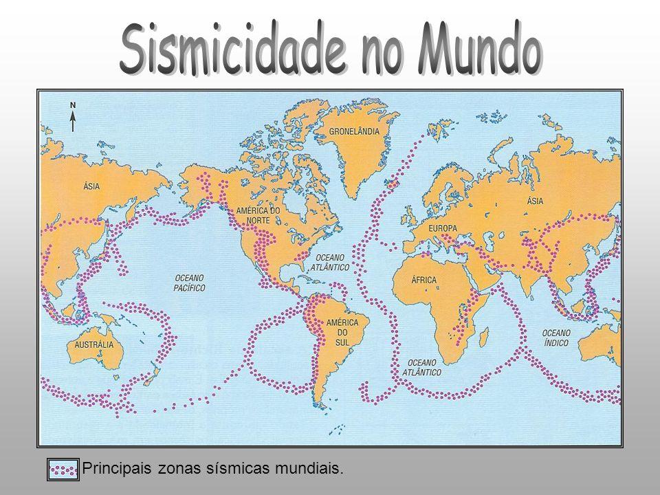 Principais zonas sísmicas mundiais.