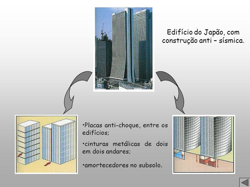 Edifício do Japão, com construção anti – sísmica. Placas anti-choque, entre os edifícios; cinturas metálicas de dois em dois andares; amortecedores no