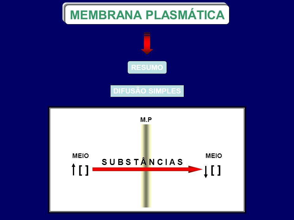 RESUMO DIFUSÃO SIMPLES MEMBRANA PLASMÁTICA M.P S U B S T Â N C I A S MEIO ] [ ] [