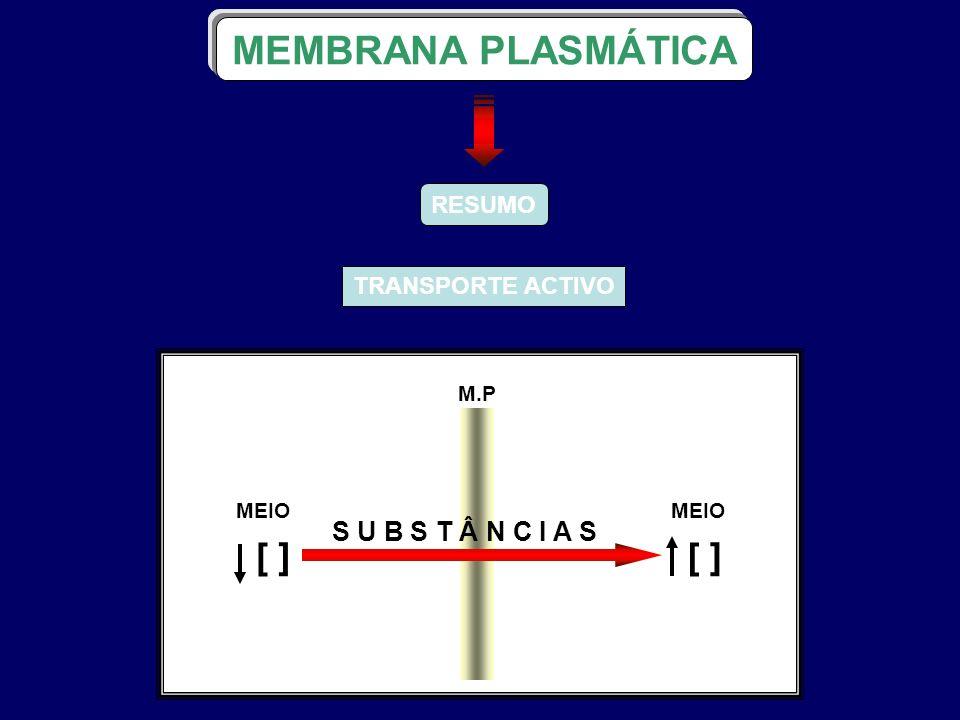 RESUMO TRANSPORTE ACTIVO MEMBRANA PLASMÁTICA M.P S U B S T Â N C I A S MEIO ] [ ] [