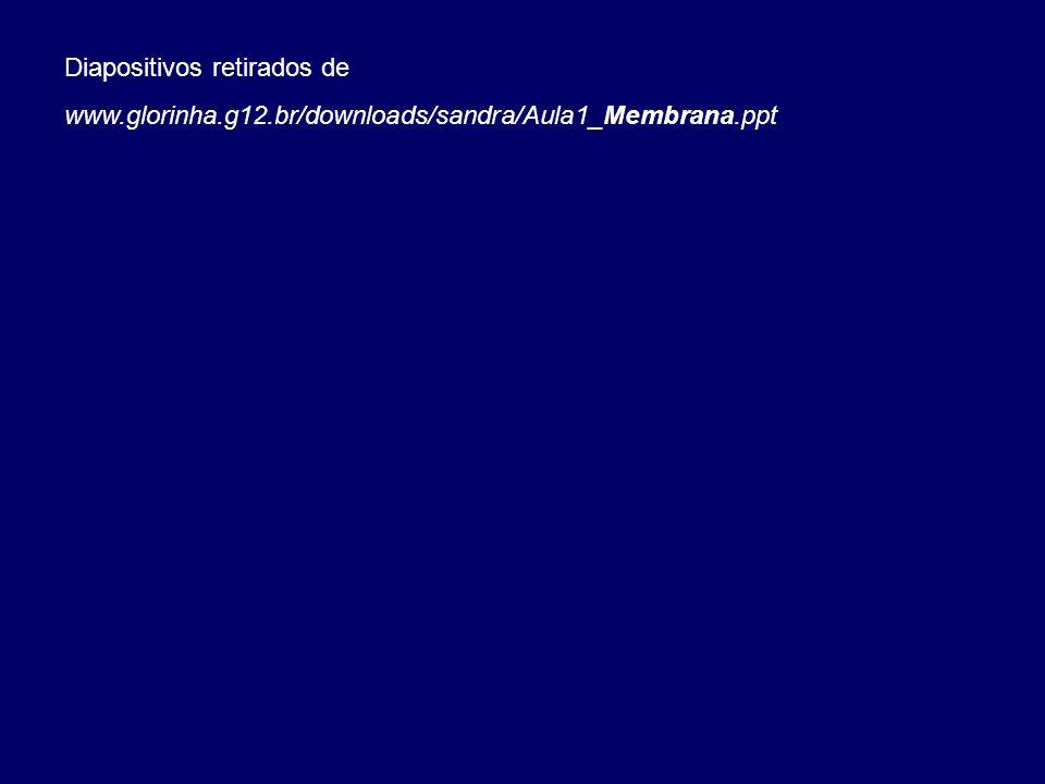Diapositivos retirados de www.glorinha.g12.br/downloads/sandra/Aula1_Membrana.ppt
