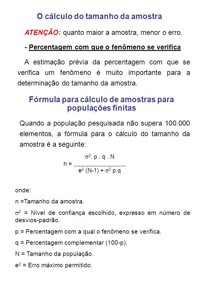 Fórmula para cálculo de amostras para populações infinitas onde: n = Tamanho da amostra 2 = Nível de confiança escolhido, expresso em número de desvios-padrão p = Percentagem com a qual o fenômeno se verifica q = Percentagem complementar (100 - p) e 2 = Erro máximo permitido A fórmula básica para o cálculo do tamanho de amostras para populações infinitas passa a ser a seguinte: e2e2 2.