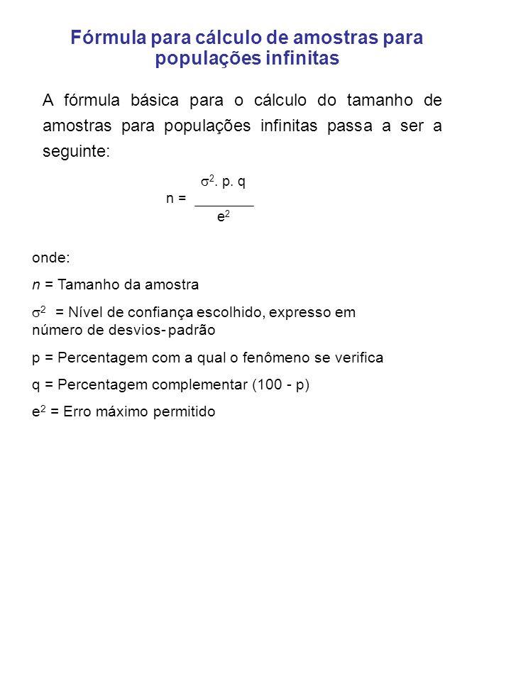 Fórmula para cálculo de amostras para populações infinitas onde: n = Tamanho da amostra 2 = Nível de confiança escolhido, expresso em número de desvio