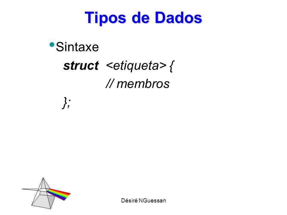 Désiré NGuessan Tipos de Dados Sintaxe struct { // membros };