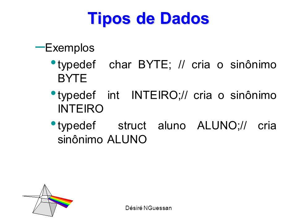 Désiré NGuessan Tipos de Dados – Exemplos typedef char BYTE; // cria o sinônimo BYTE typedef int INTEIRO;// cria o sinônimo INTEIRO typedef struct alu