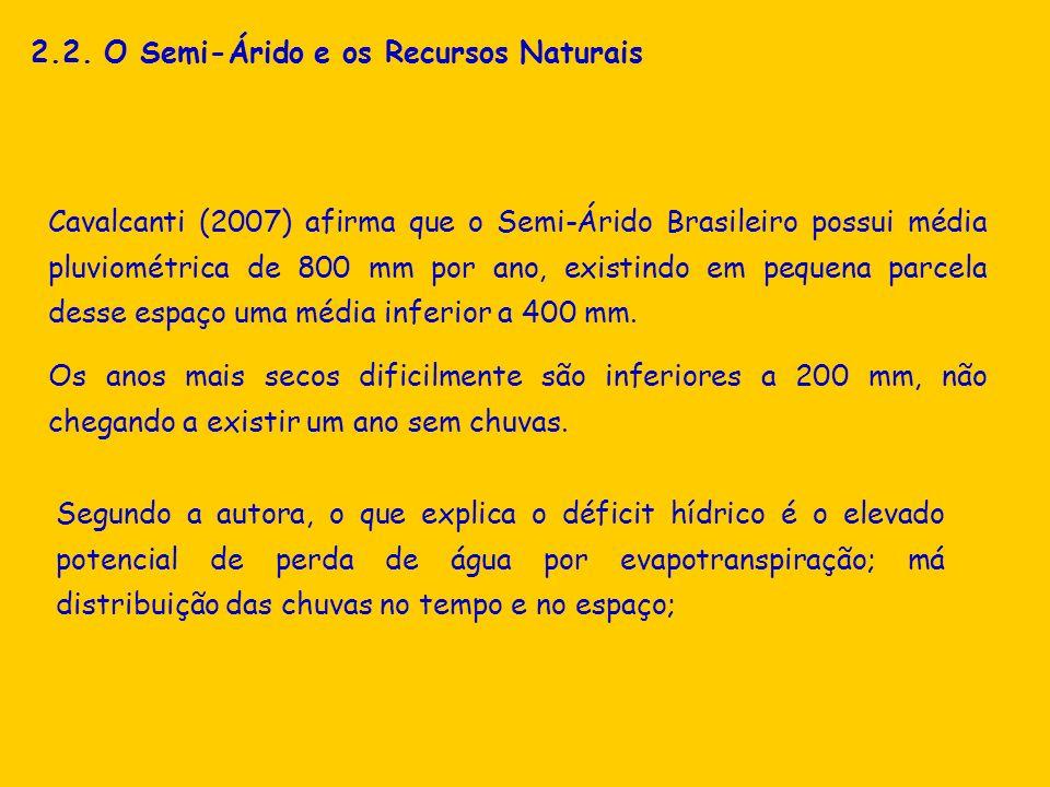 2.2. O Semi-Árido e os Recursos Naturais Cavalcanti (2007) afirma que o Semi-Árido Brasileiro possui média pluviométrica de 800 mm por ano, existindo