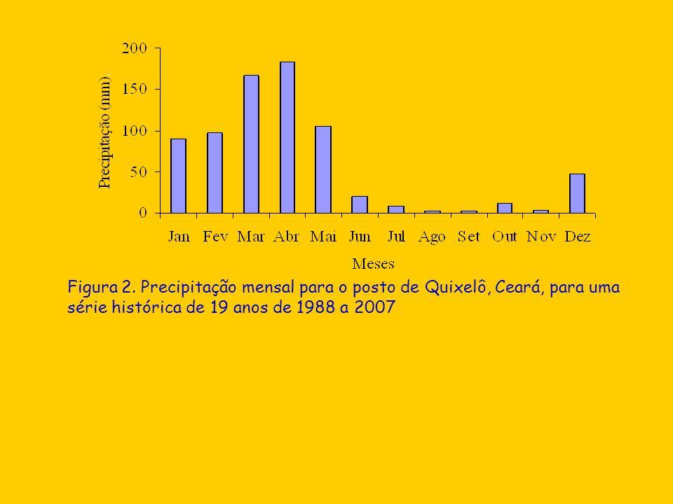 Figura 2. Precipitação mensal para o posto de Quixelô, Ceará, para uma série histórica de 19 anos de 1988 a 2007