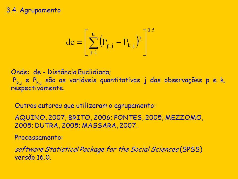 3.4. Agrupamento Onde: de - Distância Euclidiana; P p,j e P k,j são as variáveis quantitativas j das observações p e k, respectivamente. Outros autore