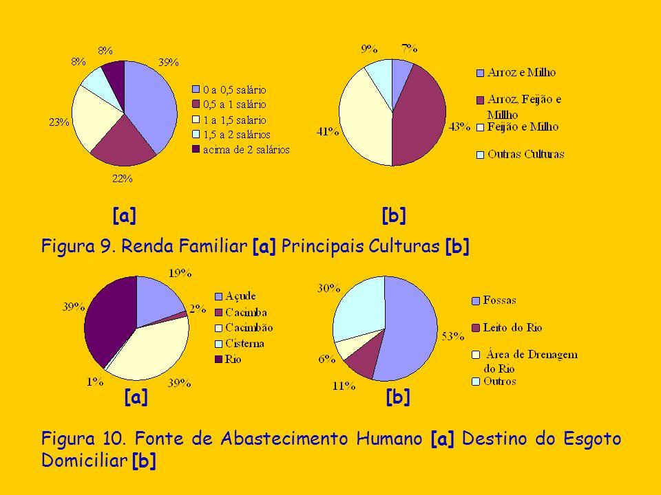 [a] [b] Figura 9. Renda Familiar [a] Principais Culturas [b] [a] [b] Figura 10. Fonte de Abastecimento Humano [a] Destino do Esgoto Domiciliar [b]