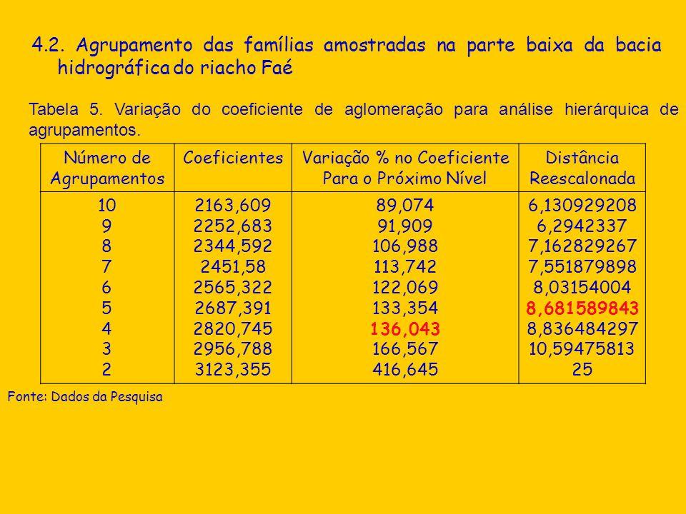 4.2. Agrupamento das famílias amostradas na parte baixa da bacia hidrográfica do riacho Faé Tabela 5. Variação do coeficiente de aglomeração para anál