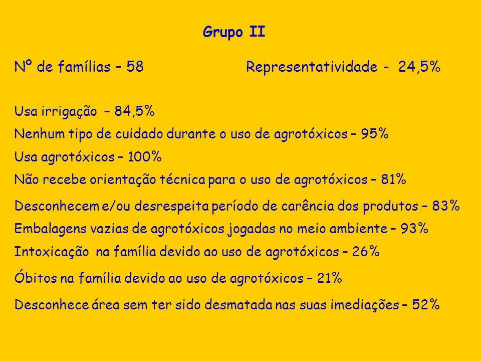 Desconhece área sem ter sido desmatada nas suas imediações – 52% Grupo II Nº de famílias – 58 Representatividade - 24,5% Usa irrigação – 84,5% Nenhum