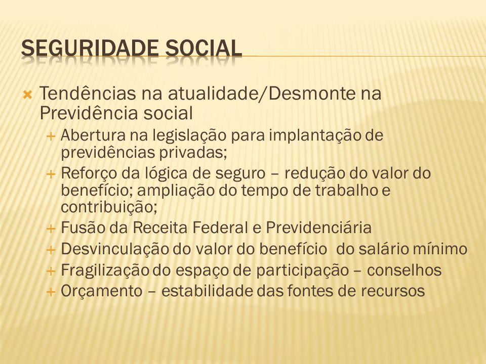 Tendências na atualidade/Desmonte na Previdência social Abertura na legislação para implantação de previdências privadas; Reforço da lógica de seguro