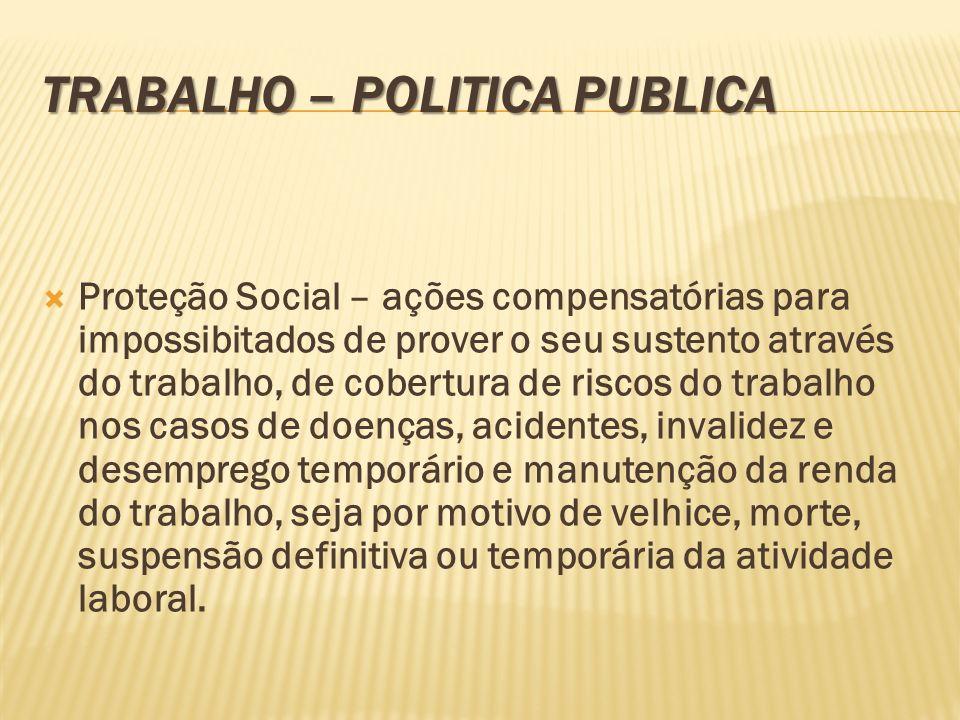 TRABALHO – POLITICA PUBLICA Proteção Social – ações compensatórias para impossibitados de prover o seu sustento através do trabalho, de cobertura de r
