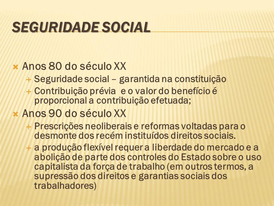 SEGURIDADE SOCIAL Anos 80 do século XX Seguridade social – garantida na constituição Contribuição prévia e o valor do benefício é proporcional a contr