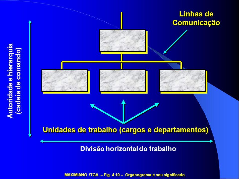 Unidades de trabalho (cargos e departamentos) Divisão horizontal do trabalho Autoridade e hierarquia (cadeia de comando) Linhas de Comunicação MAXIMIA