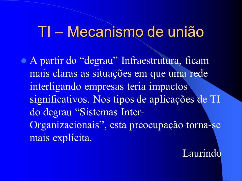 TI – Mecanismo de união A partir do degrau Infraestrutura, ficam mais claras as situações em que uma rede interligando empresas teria impactos signifi