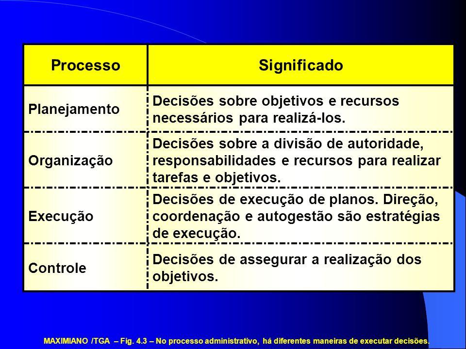 Decisões de assegurar a realização dos objetivos. Controle Decisões de execução de planos. Direção, coordenação e autogestão são estratégias de execuç