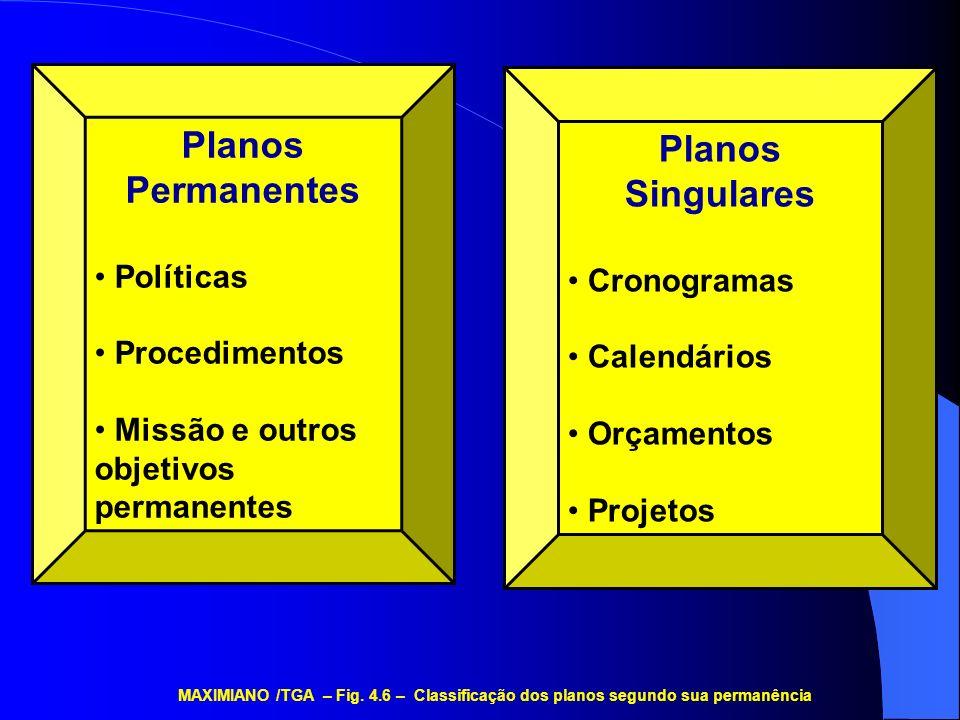 Planos Permanentes Políticas Procedimentos Missão e outros objetivos permanentes Planos Singulares Cronogramas Calendários Orçamentos Projetos MAXIMIA