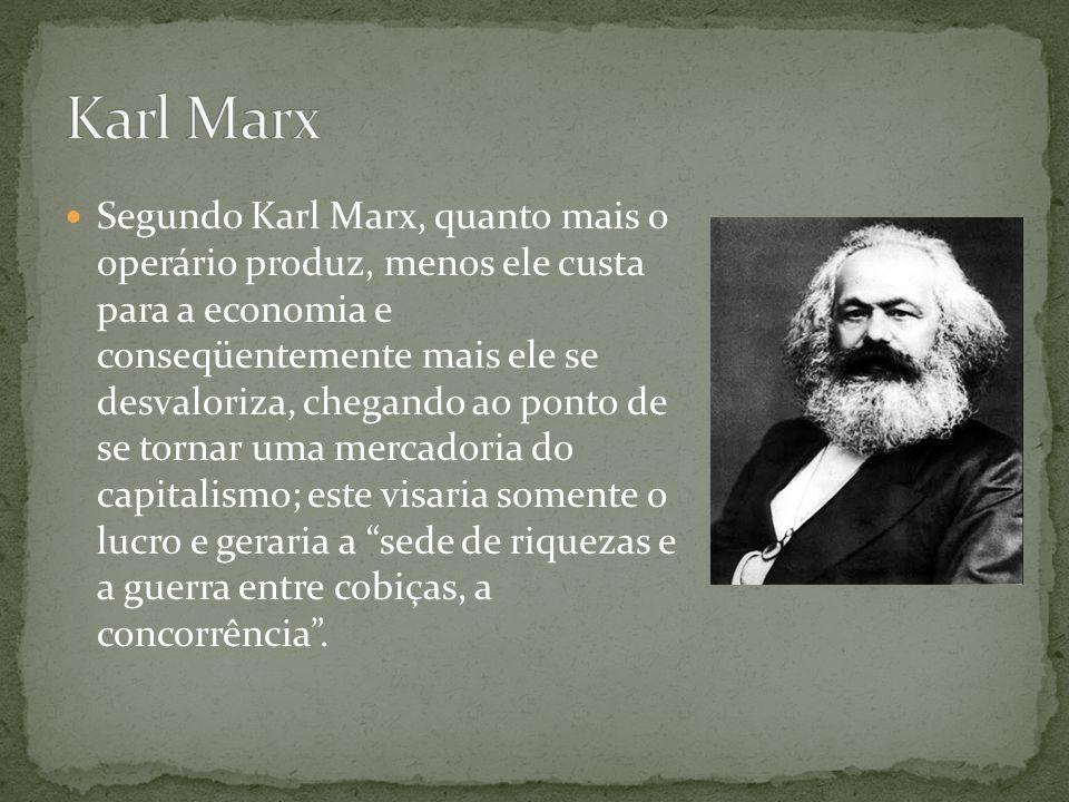 Segundo Karl Marx, quanto mais o operário produz, menos ele custa para a economia e conseqüentemente mais ele se desvaloriza, chegando ao ponto de se