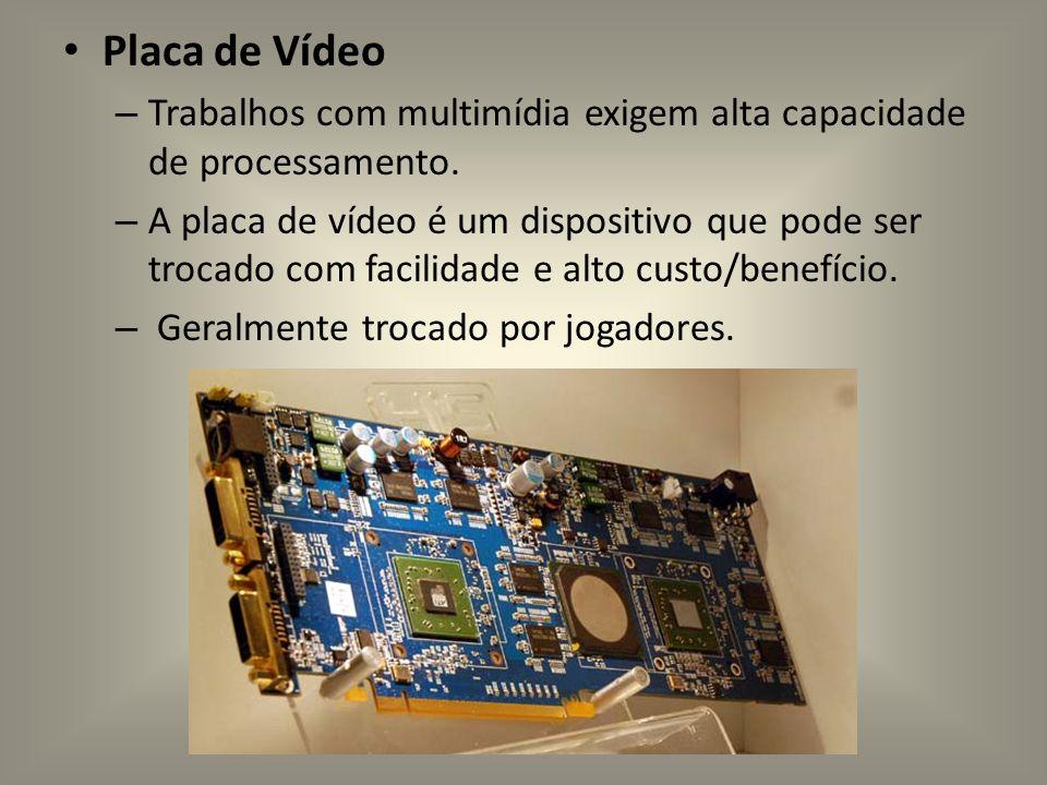 Placa de Vídeo – Trabalhos com multimídia exigem alta capacidade de processamento. – A placa de vídeo é um dispositivo que pode ser trocado com facili