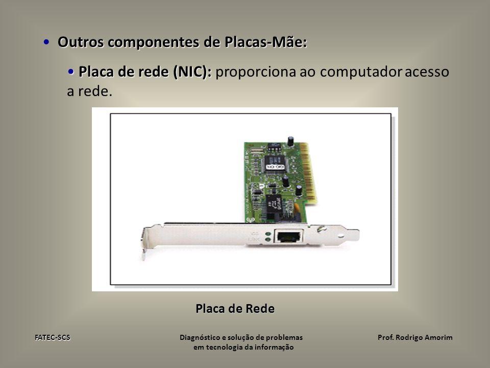 Outros componentes de Placas-Mãe: Placa de rede (NIC): Placa de rede (NIC): proporciona ao computador acesso a rede. Placa de Rede FATEC-SCS FATEC-SCS