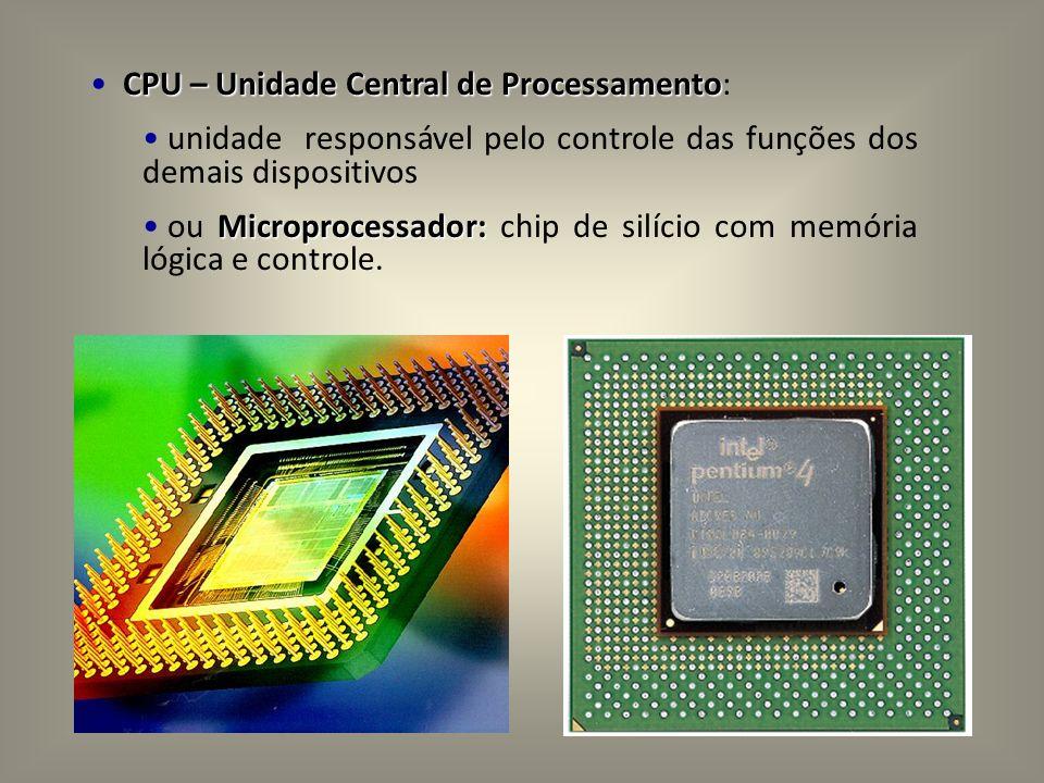 CPU – Unidade Central de Processamento CPU – Unidade Central de Processamento: unidade responsável pelo controle das funções dos demais dispositivos M
