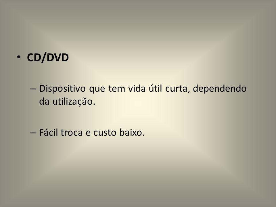 CD/DVD – Dispositivo que tem vida útil curta, dependendo da utilização. – Fácil troca e custo baixo.