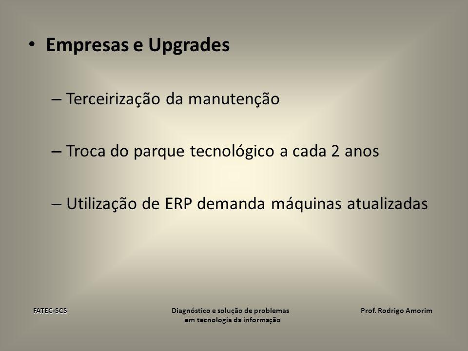 Empresas e Upgrades – Terceirização da manutenção – Troca do parque tecnológico a cada 2 anos – Utilização de ERP demanda máquinas atualizadas FATEC-S