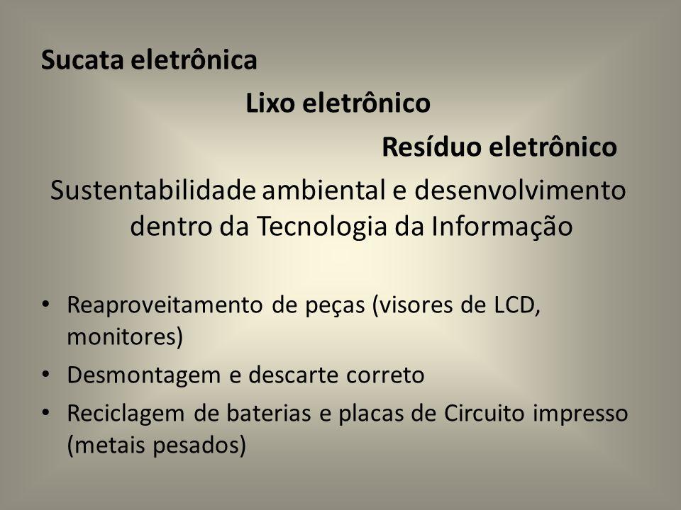 Sucata eletrônica Lixo eletrônico Resíduo eletrônico Sustentabilidade ambiental e desenvolvimento dentro da Tecnologia da Informação Reaproveitamento