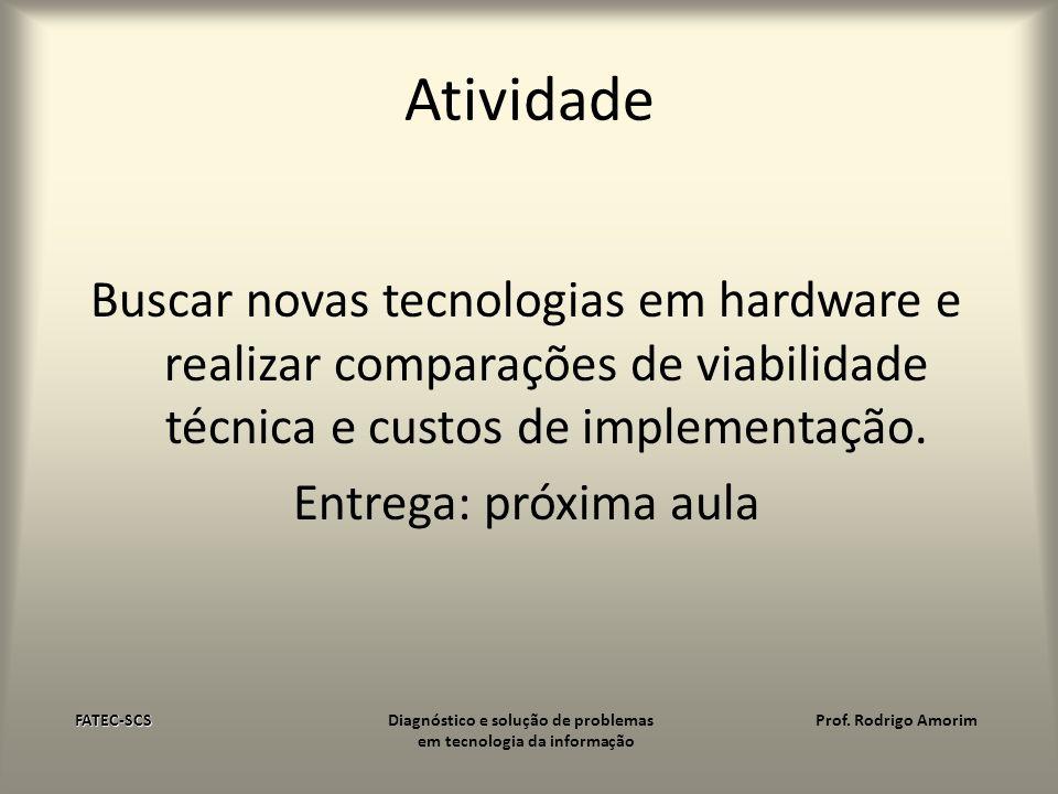 Atividade Buscar novas tecnologias em hardware e realizar comparações de viabilidade técnica e custos de implementação. Entrega: próxima aula FATEC-SC