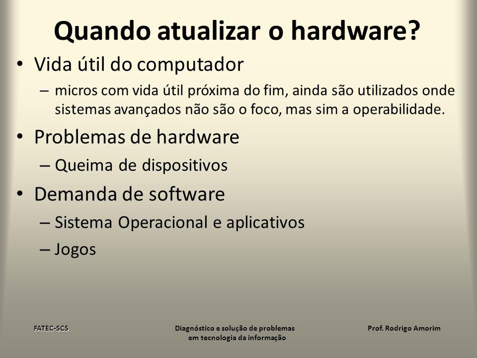 Quando atualizar o hardware? Vida útil do computador – micros com vida útil próxima do fim, ainda são utilizados onde sistemas avançados não são o foc