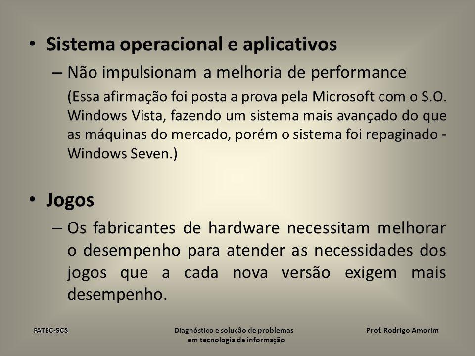 Sistema operacional e aplicativos – Não impulsionam a melhoria de performance (Essa afirmação foi posta a prova pela Microsoft com o S.O. Windows Vist
