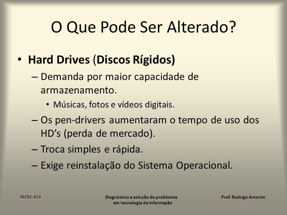 O Que Pode Ser Alterado? Hard Drives (Discos Rígidos) – Demanda por maior capacidade de armazenamento. Músicas, fotos e vídeos digitais. – Os pen-driv