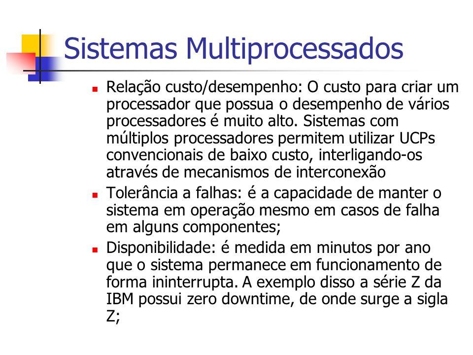 Sistemas Multiprocessados Relação custo/desempenho: O custo para criar um processador que possua o desempenho de vários processadores é muito alto. Si