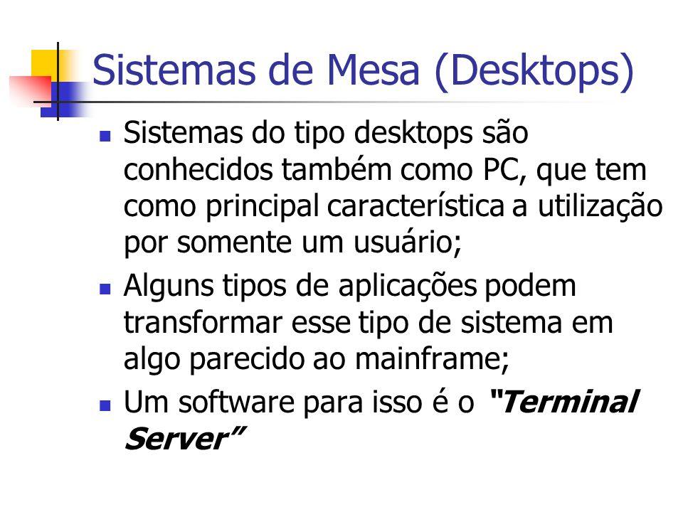 Sistemas de Mesa (Desktops) Sistemas do tipo desktops são conhecidos também como PC, que tem como principal característica a utilização por somente um