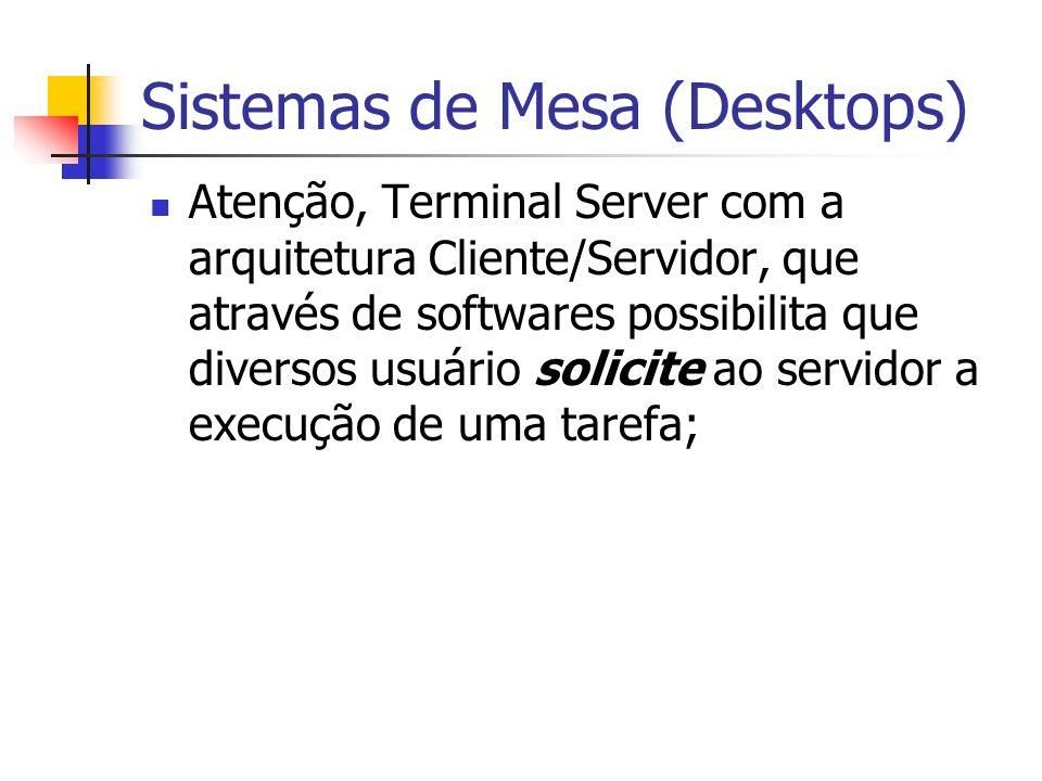Atenção, Terminal Server com a arquitetura Cliente/Servidor, que através de softwares possibilita que diversos usuário solicite ao servidor a execução