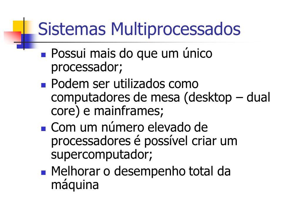 Sistemas Multiprocessados Possui mais do que um único processador; Podem ser utilizados como computadores de mesa (desktop – dual core) e mainframes;